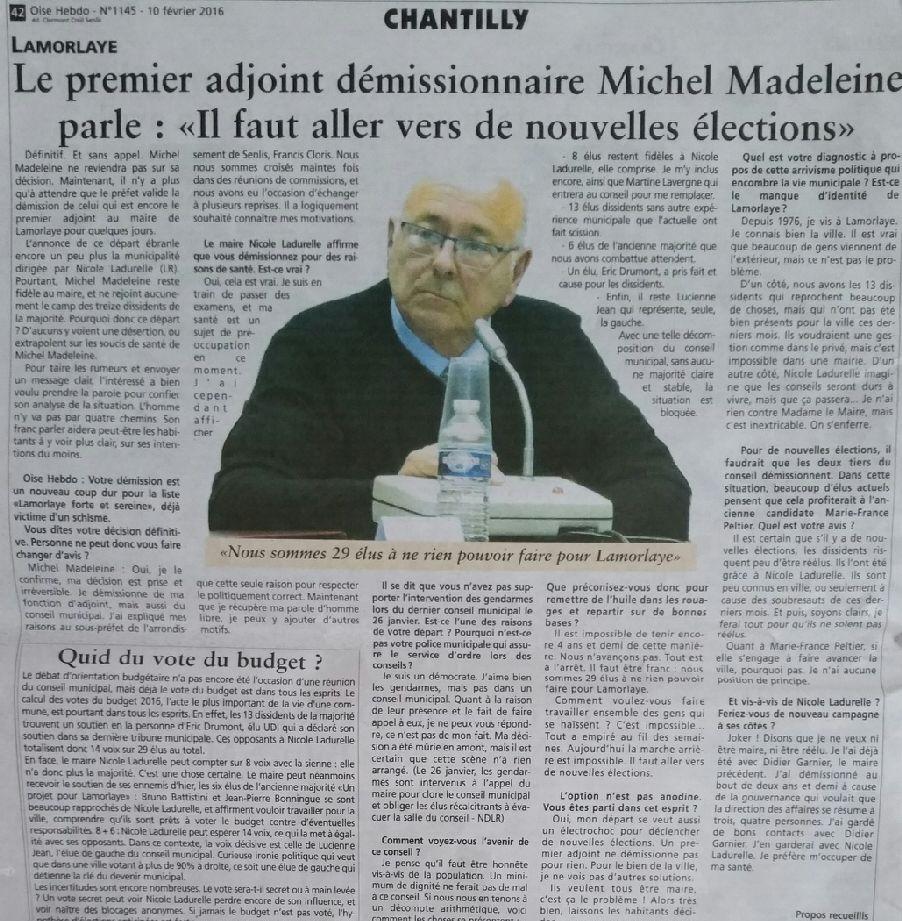 Michel Madeleine démissione