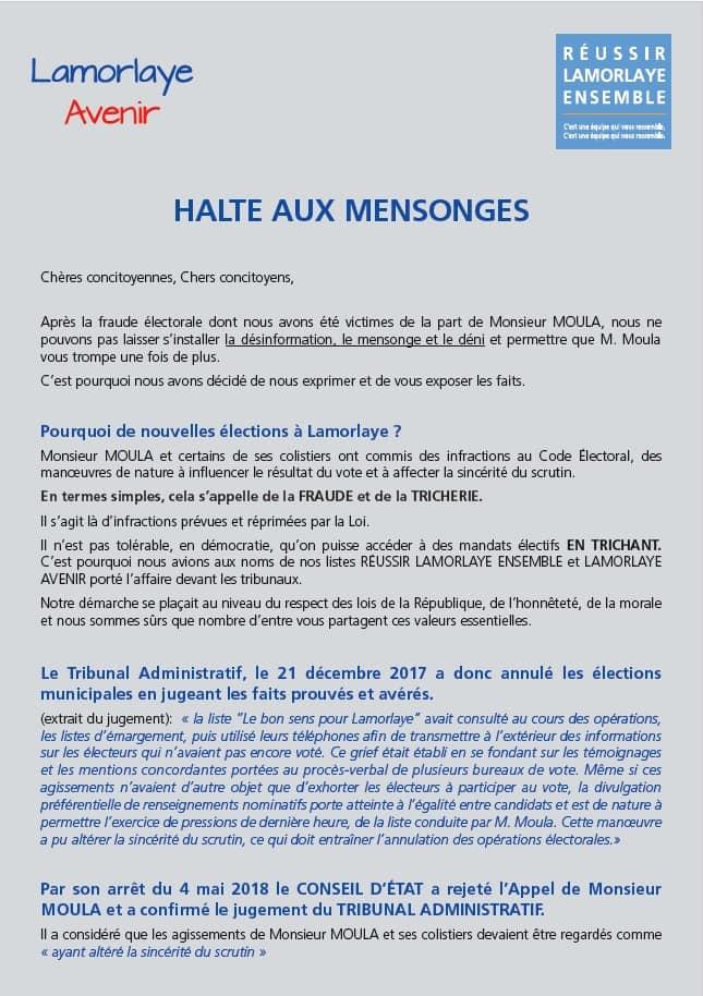 Lamorlaye Avenir - Halte aux mensonges P1
