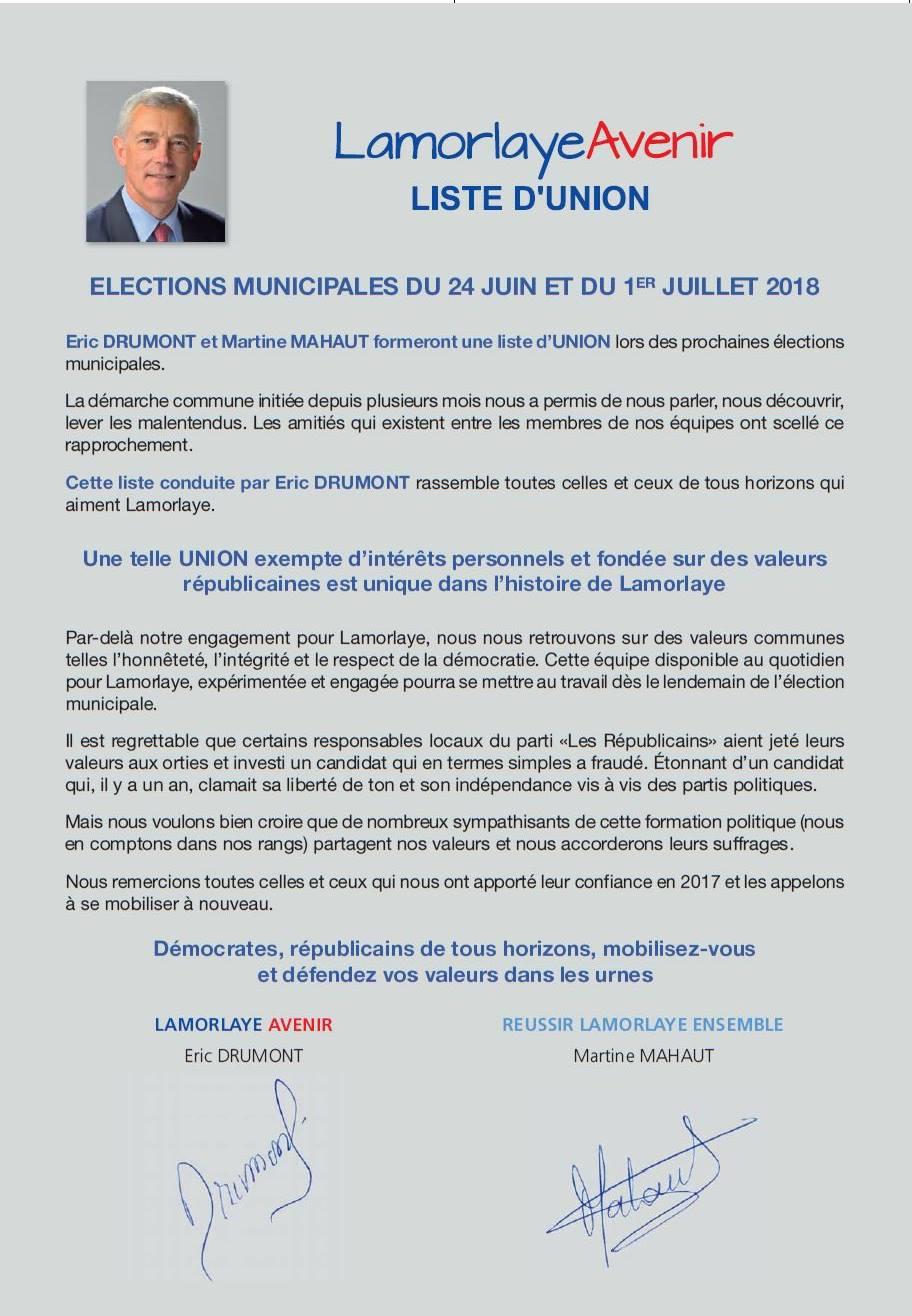 Lamorlaye Avenir Liste d'union elections municipales 2018 p1
